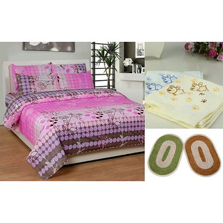 K Decor Combo of 1 Double Bed Sheet With 2 Door Mats  2 Face Towels (DDF-001)