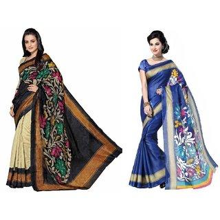 Sukuma  Bhagalpuri Designer Saree  Cmb2-SariBglpri-AmishaFlower-SimiranBlue