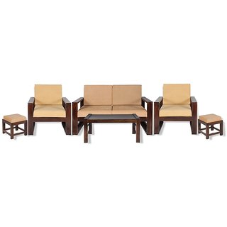 Anant Brown Sheesham Wood (2+1+1) Seater Sofa Set With Coffee Table  2 Stools