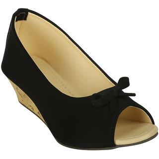 Zachho Women Black Casual Slip On Wedge Heel (HC119-Black)