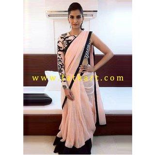 Sonam Kapoor Pink Saree With Black Border