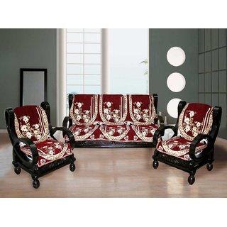 Fk White Maroon Floral Velvet Sofa Slip Covers