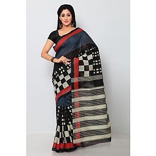 Sareemall Black & Grey Art Silk Printed Saree With Blouse