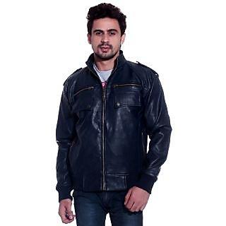 Tag 7 Grey Blue Pu Leather Jacket