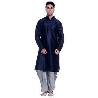 Tag 7 Navy Kurta Gray Silk Dhoti Set