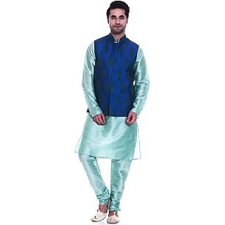 Tag 7 Green Kurta Churidar Pyjami With Blue Butta Jacket