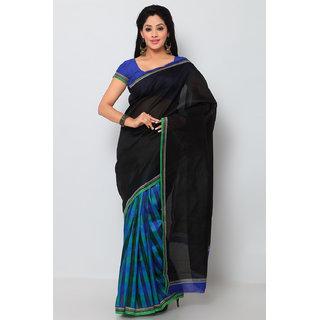 Sareemall Blue & Black Art Silk Printed Saree With Blouse