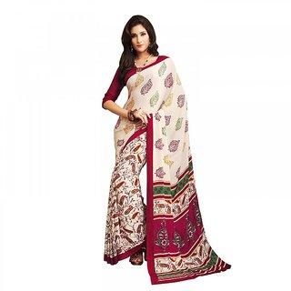 Aaina Beige  Maroon Silk Chiffon Printed Saree with Blouse (FL-11497)