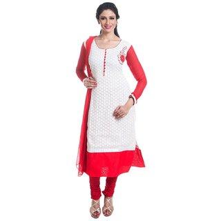Fashion Chikan Cotton Embroidered Straight Long Kurti Churidar Suit Partywear Weddingwear...