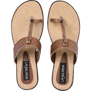 La-Juliana Women Brown Casual Open Toe Slip On Heel Sandals (BROWNKOLHAPURISIL)