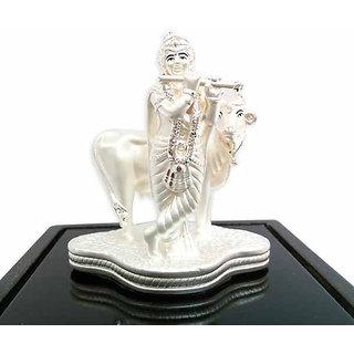 SheNShree 999 Pure Silver Idol Krishna (With Cow) (Divine Gift)