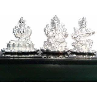SheNShree 999 Pure Silver Idol Lakshmi Ganesh Saraswati (Divine Gift)