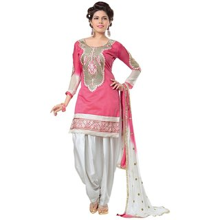 Panache Collection Pink Chanderi Un-Stitched Suit