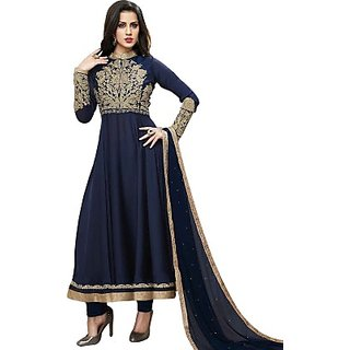 JMDtrade Embroidered Semi-stitched Salwar Suit Dupatta Georgette Material WITH LINING CLOTH