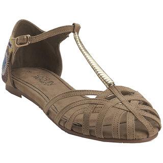 Bimra Camel Flats for Women (Brown)
