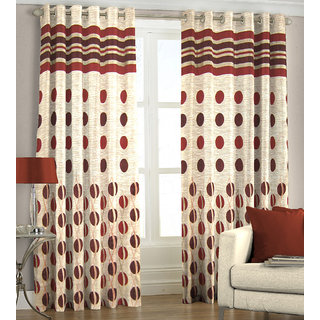 Just Linen Pair of Maroon Polyester Jacquard Door Eyelet Curtains