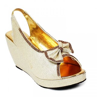 Bellafoz Golden Party Wear Wedges