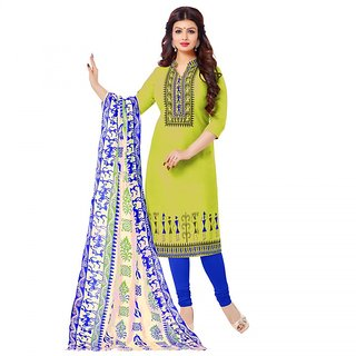 Sareemall Green  Dress Material Suit with Matching Dupatta OSC1003