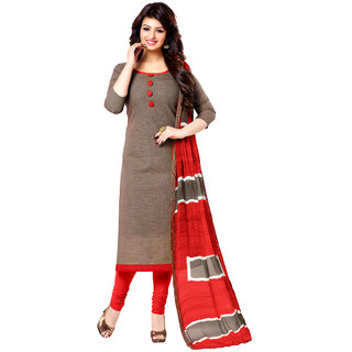 Sareemall Brown Cotton Block Print Salwar Suit Dress Material (Unstitched)