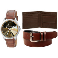 Special Combo Of Brown Leather Strap Graphic Watch And Brown Leather Belt With Brown Leather Wallet