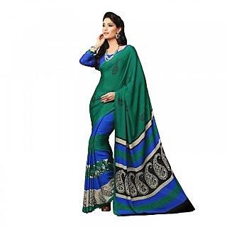 Aaina Green Silk Chiffon Printed Saree with Blouse (FL-11522)