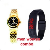 Men Women Combo Led Band Watch And Sonic Golden Color Watch