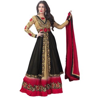Triveni Miraculous Black Colored Wedding Wear Semistitched Long Anarkali