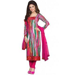 Triveni Attractive Pink Colored Pure Cotton Salwar Kameez  (Unstitched)