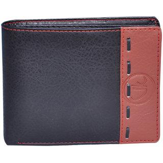 Vagan-Kate stripped black leather wallet for men