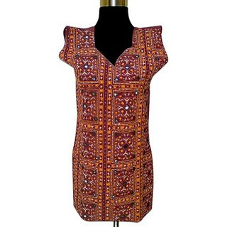 Yellow,Maroon Brasso Regular Kurti For Women