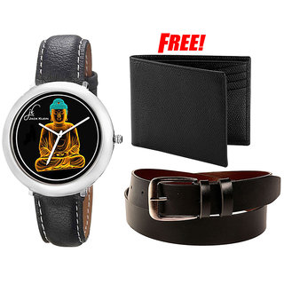 Combo of Jack Klein Stylish Graphic Watch And Belt With Wallet