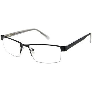 Cardon Black Rectangular Half Rim Eyeglasses-LCEWCD524REOUKx8804xBLK