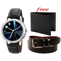 Combo Of Jack Klein Stylish Black Leather Strap Analog Graphic Watch And Leather Belt With Leather Wallet - 91495584
