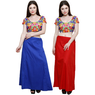 38bcf26dee4105 Buy Pistaa Combo of Womens Cotton Ink Blue and Red Colour Inskirt Saree  petticoats Online - Get 58% Off