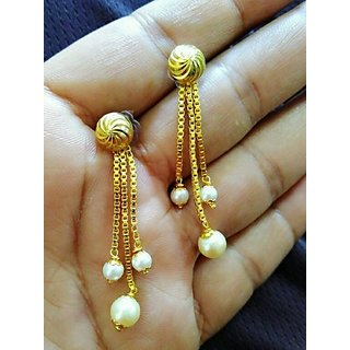 18 k gold plated ball  earrings with pearl latkan 3 line chain