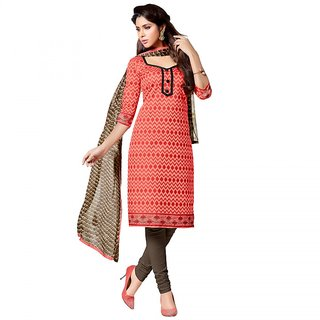 Sareemall Red Chanderi Block Print Salwar Suit Dress Material (Unstitched)