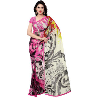 Sareemall Multicolor Georgette Block Print Saree With Blouse