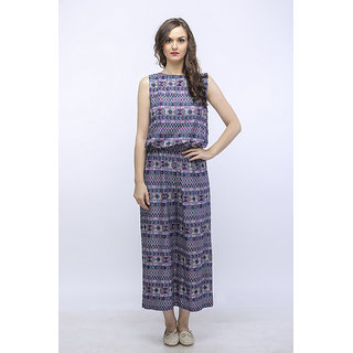 SOULWEAR PRINTED ONE PIECE CALF LENGTH JUMPSUIT WITH ELASTIC WAIST AND OPEN BACK.