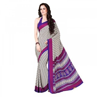 Aaina White  Pink Crepe Printed Saree with Blouse (FL-11585)