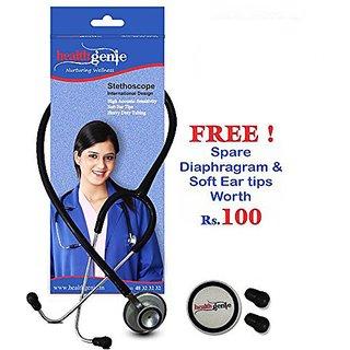 Healthgenie HG-203B (Black) Doctors Dual Al Stethoscope DELUXE