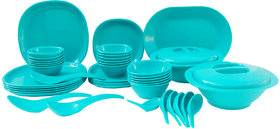 Incrzima - 44 Pcs Dinner Set Square Turquoise Green - 1551TG