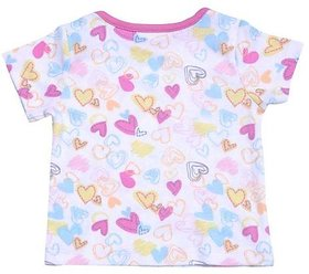 Babysafe Bss2Pinkhearts24 Multi-Coloured Cotton Baby-Girls 1 Tshirt Half Sleeve And 1Pant
