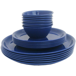 Incrzima - 18 Pcs Round Dinner Set Navy Blue