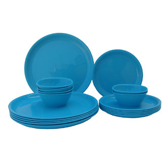 Incrzima - 18 Pcs Round Dinner Set Turquoise Blue