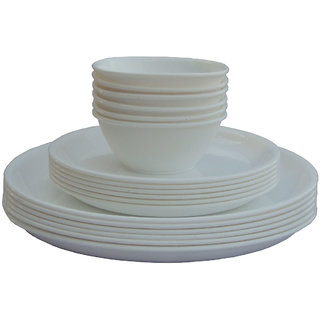 Incrzima - 18 Pcs Round Dinner Set White