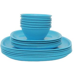 Incrzima - 18 Pcs Square Dinner Set -Turquoise Blue