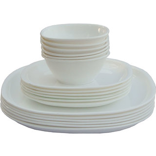 Incrzima - 18 Pcs Square Dinner Set White