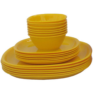 Incrzima - 18 Pcs Square Dinner Set -Yellow