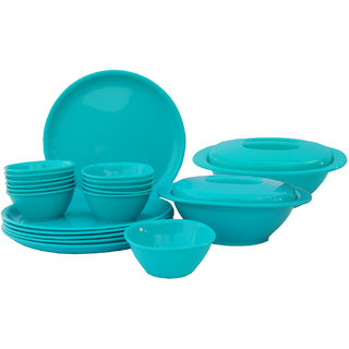 Incrzima - 22 Pcs Round Dinner Set - Turquoise Green