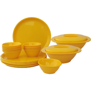 Incrzima - 22 Pcs Round Dinner Set - Yellow